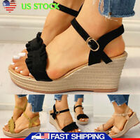 Womens Espadrilles Wedge Platform Ankle Strap Buckle Sandals Summer Party Shoes