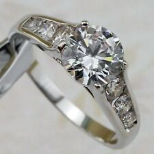 18K White Gold On Silver 2.17 Carat Fiery Simulated Moissanite Ring_Size 6+1/4