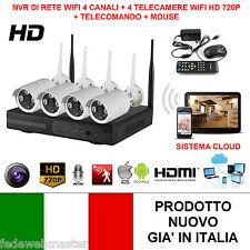 KIT VIDEOSORVEGLIANZA WIRELESS WIFI FULL 720P HD IP 4 TELECAMERE NVR LAN REMOTO