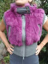 Real Genuine Fur Vest Gilet / Fuxia & Grey / Size M /Hoodie/ Funky look
