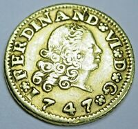 Authentic 1747 Spanish Gold 1/2 Escudo Old Antique Pirate Doubloon Treasure Coin