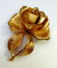 Rose Brooch CERRITO Signed Vintage Gold Tone Textured Leaves Pin