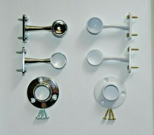 Brackets or Sockets for pole rail Wardrobe fittings support Chrome or White 19mm