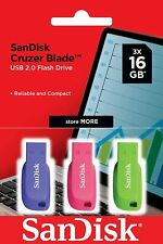 SanDisk Cruzer Blade- PENDRIVE 16 GB USB 2.0, Pack de 3 Unidades de Colores