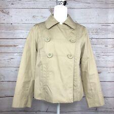 LL Bean Women's Jacket Coat Peacoat Double Breasted Khaki Tan Lined Small S Fall