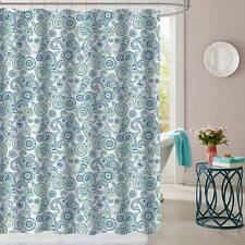 Modern Paisley Pattern Blue Green Fabric Bathroom Shower Curtain