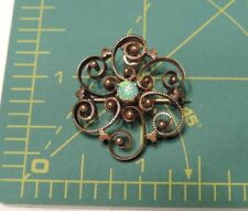 Victorian Rose Gold Filled Flower Genuine Opal Brooch Pendant combo A22