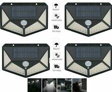 Pdr 4pcs Lámpara Foco Faro Exterior Energía Solar 100LED Sensor de Movimiento
