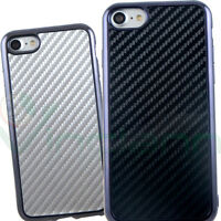 Pellicola+Custodia cover CARBON FIBER flessibile per Apple iPhone 7 4.7""
