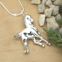 HORSE & WESTERN JEWELLERY JEWELRY SILVER TONE DUAL PURPOSE HORSE BROOCH NECKLACE