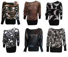 Womens Printed Long Sleeve Baggy Batwing T Shirt Top Ladies Party Dress contrast