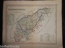 Antiquarian Hand Coloured Map of Northamptonshire c1850 - Northampton, Historic