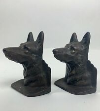 Antique vintage German Shepherd cast iron bookends