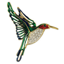 ELEGANT CUTE CRYSTAL HUMMING BIRD PIN BROOCH MADE WITH SWAROVSKI ELEMENTS