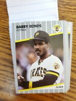 BARRY BONDS Pittsburgh Pirates 1989 Fleer Baseball Card #202 LOT of 24