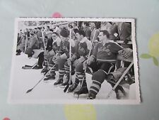 Original Harringay RACERS Ice Hockey 1950's Overseas Tour TEAM on Bench Photo