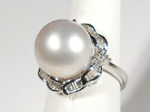 Solid 925 Sterling Silver Round Pearl & White CZ Flower Design Ring Gift her