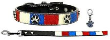 Patriotic Ice Cream Bling Collar and Leash (Size Large) with Blue Claw Paw Charm