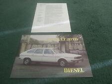 1980 1981 RENAULT 20 TD DIESEL UK COLOUR BROCHURE + 20 GTD SPECIFICATION SHEET