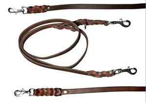 Neck Line Lead, Leather 78 11/16in x 0 13/16in, 2- Compartment Adjustable, Oiled