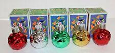 Set of 5 Vintage Avon Christmas Ornament Decanters,4oz Bubble Bath,4 Diff Colors