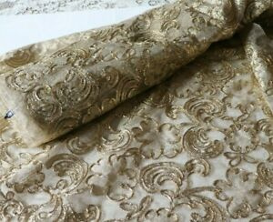 """BTY Vintage French """"Hurel Paris"""" Gold Metallic Embroidered Gold Net~Reserved"""