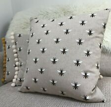 """Bumble Bee Vintage Style Cushion Cover DOUBLE SIDED Natural Linen Look 16"""" 18"""""""