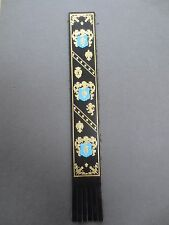 BOOKMARK LEATHER Florentine Design Black Gold & Turquoise