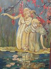 19th Century Art Nouveau Arts & Crafts Oil Reflective Maidens Water Lily Pond