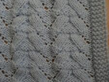 Knitted baby blanket reversible in pale blue