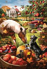 Toland Home Garden Autumn Farm 28 x 40 Inch Decorative Fall Harvest Horse Dog