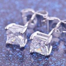 Mens stud punk earrings white gold filled hip hop square cubic zirconia jewelry