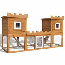 1.9m Pet Bunny Rabbit Guinea Pig Wooden 2 Level Safety Hutch House Shelter Cage