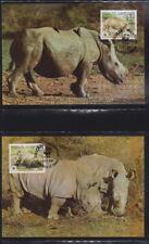 Swaziland 1987 Maximumkarten  MiNr. 528-531  WWF  Breitmaulnashorn