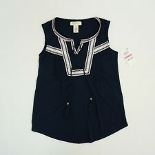 Style & Co Womens Petite Top Sleeveless Embroidered Peasant Top Navy Blue PP PXS