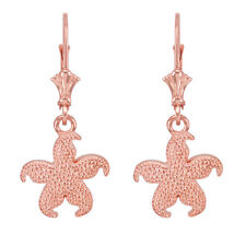 14k Rose Gold Textured Starfish Sea Star Drop / Dangle Leverback Earrings