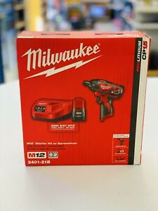 Milwaukee 2401-21B 12-Volt 1/4 in. Hex Screwdriver Kit w/Battery &Charger NEW !
