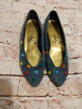 Vintage Joyce Denim Multicolored Polka Dot Shoes Size 7.5 M
