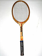 RARE GRAPHICS Vintage Wilson SET Strata-Bow Wooden Tennis Racquet Belgium Racket