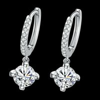 Swarovski Elements Leverback Earrings in 18K White Gold