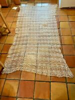 "Vintage White floral Crochet Lace Handmade Tablecloth 120"" x 60"" FREE SHIPPING"