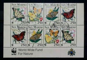 San Marino Butterflies World Wildlife Fund 1993 Used Block of 8 14579