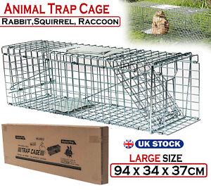 Large Animal Trap Live Life Catch Door Cage Bait Cat Raccoon Rabbit Fox Pigs Pet