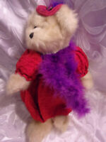 "Heritage Ganz Red Hat Purple Teddy Bear 17"" Plush Soft Toy Stuffed Animal"