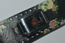 "VINTAGE Ed Hardy TTBSK3242 ""ROSE"" Quartz Watch Wide Leather Strap Works Fine"