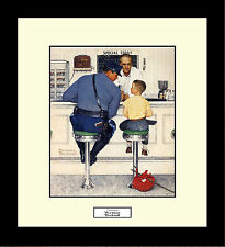Norman Rockwell THE RUNAWAY Framed Police Boy Wall Hanging Art Gift