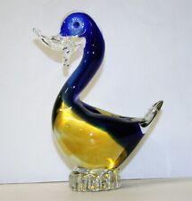 Murano Art Glass Duck Sculpture Hand Blown Sommerso Glass Bird Statue 7.5in