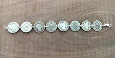 """Barber DIME Coin Jewelry BRACELET 7.5"""" 90% Silver With .925 Links! Obv/Rev"""