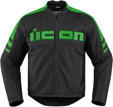 Motorhead 2 Leather Riding Jacket Black/Green Large Icon 2810-2846