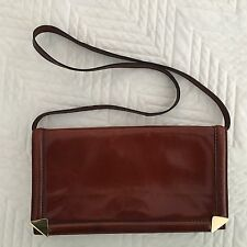 Vintage ITALIAN LEATHER Handbag ~ Clutch or Shoulder Purse ~ Detachable Strap
